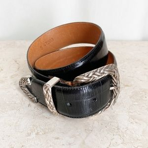 Brighton Belt S Black Leather Alligator Embossed